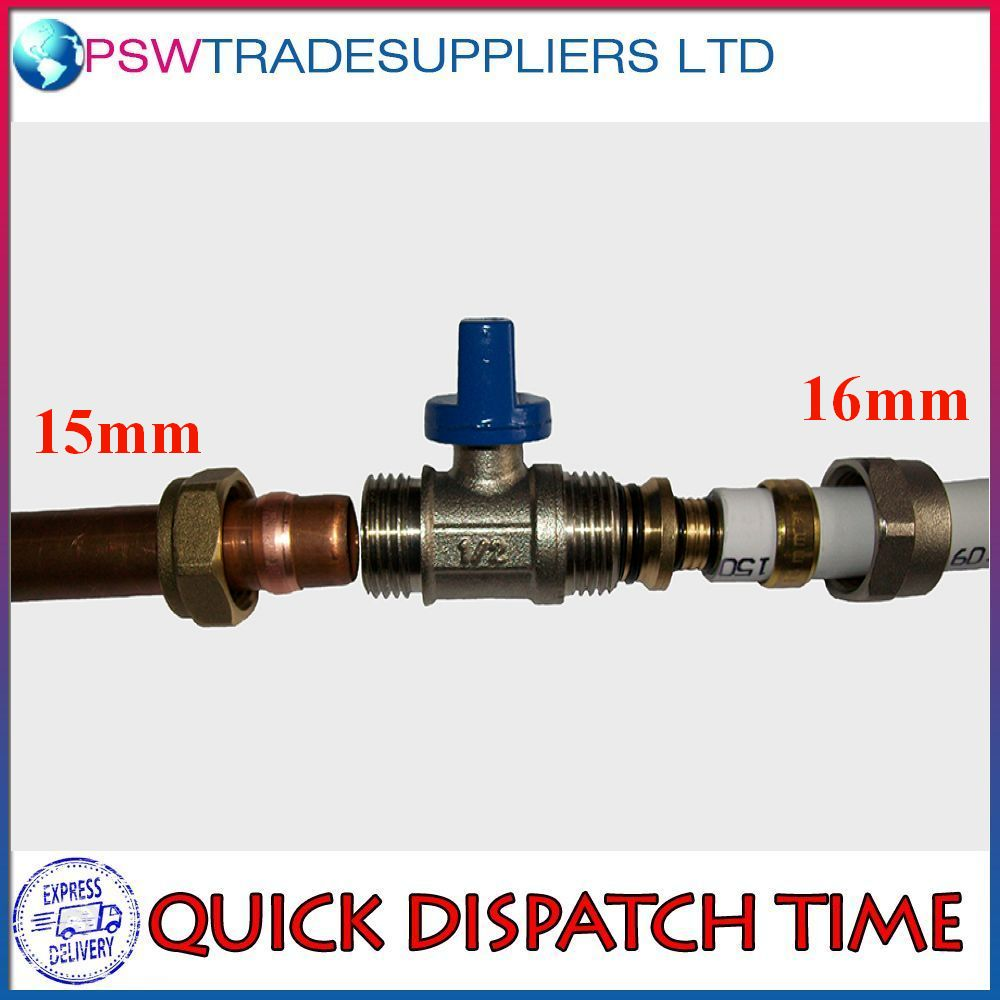 Adapter reducer 15mm 16mm pex al pex ball valve brass for Copper pipe to pex fitting